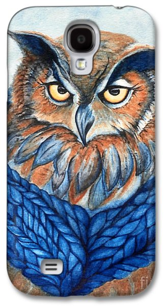 Yellow Beak Paintings Galaxy S4 Cases - Owl in a cowl Galaxy S4 Case by Janine Riley