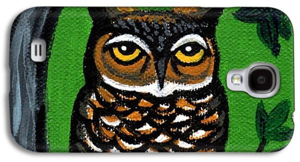 Yellow Beak Paintings Galaxy S4 Cases - Owl In Tree With Green Background Galaxy S4 Case by Genevieve Esson