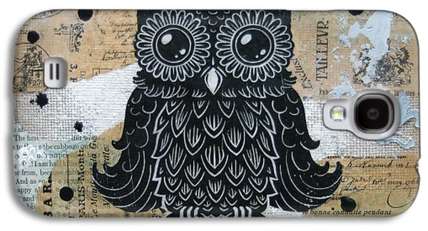 Lino-cut Galaxy S4 Cases - Owl on Burlap1 Galaxy S4 Case by Kyle Wood