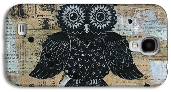 Lino-cut Galaxy S4 Cases - Owl on Burlap2 Galaxy S4 Case by Kyle Wood
