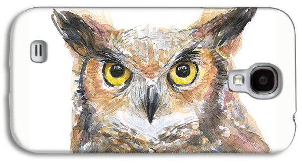 Wilderness Paintings Galaxy S4 Cases - Owl Watercolor Portrait Great Horned Galaxy S4 Case by Olga Shvartsur