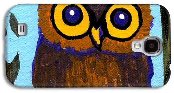 Yellow Beak Paintings Galaxy S4 Cases - Owlette Galaxy S4 Case by Genevieve Esson