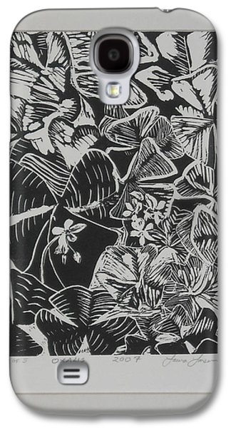 Linocut Drawings Galaxy S4 Cases - Oxalis Galaxy S4 Case by Laura Anderson