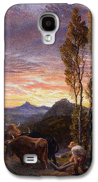 Farming Paintings Galaxy S4 Cases - Oxen Ploughing at Sunset Galaxy S4 Case by Samuel Palmer