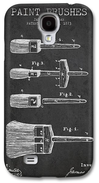 Painter Digital Art Galaxy S4 Cases - Paint brushes Patent from 1873 - Charcoal Galaxy S4 Case by Aged Pixel