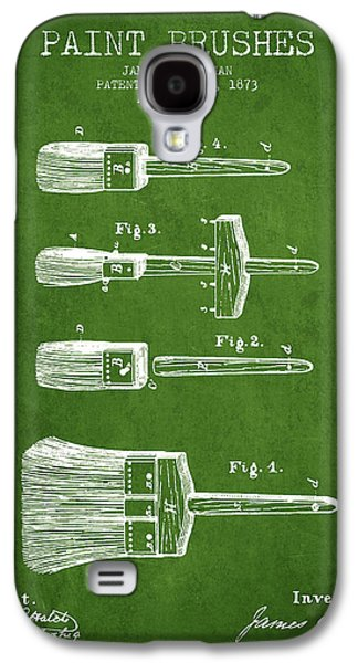Painter Digital Art Galaxy S4 Cases - Paint brushes Patent from 1873 - Green Galaxy S4 Case by Aged Pixel