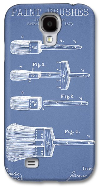 Painter Digital Art Galaxy S4 Cases - Paint brushes Patent from 1873 - Light Blue Galaxy S4 Case by Aged Pixel