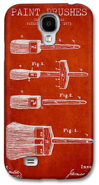 Painter Digital Art Galaxy S4 Cases - Paint brushes Patent from 1873 - red Galaxy S4 Case by Aged Pixel