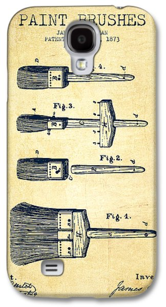 Painter Digital Art Galaxy S4 Cases - Paint brushes Patent from 1873 - Vintage Galaxy S4 Case by Aged Pixel