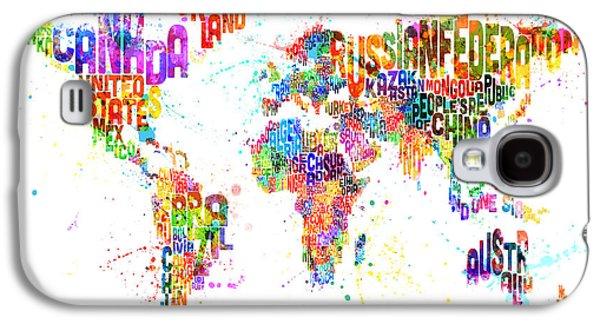 Words Galaxy S4 Cases - Paint Splashes Text Map of the World Galaxy S4 Case by Michael Tompsett
