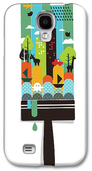 Cute Digital Galaxy S4 Cases - Paint Your World Galaxy S4 Case by Budi Kwan