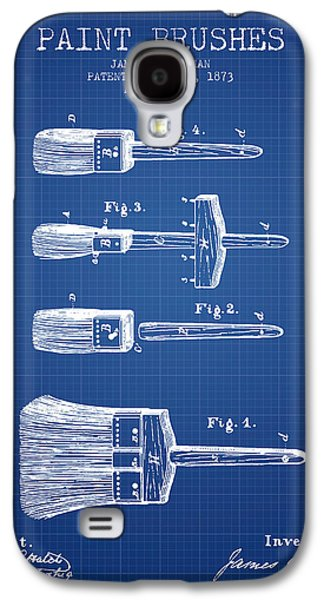 Painter Digital Art Galaxy S4 Cases - Paintbrushes Patent from 1873 - Blueprint Galaxy S4 Case by Aged Pixel