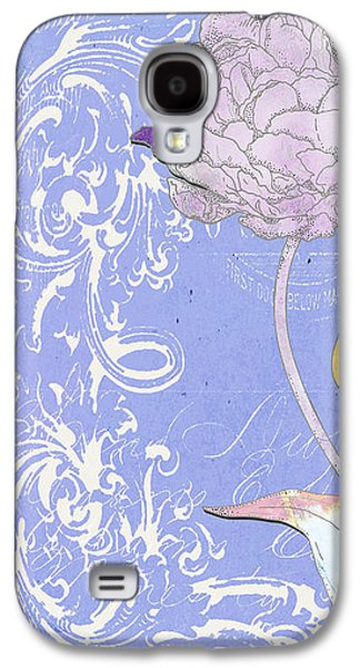 Surtex Licensing Galaxy S4 Cases - Painted Peonies Floral on Lavander Scrolls Background Galaxy S4 Case by ArtyZen Studios - ArtyZen Home