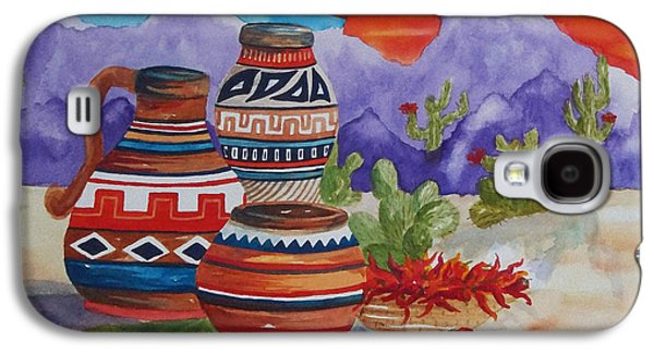 Surreal Landscape Galaxy S4 Cases - Painted Pots and Chili Peppers Galaxy S4 Case by Ellen Levinson