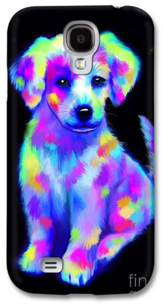 Puppies Digital Art Galaxy S4 Cases - Painted Pup 2 Galaxy S4 Case by Nick Gustafson