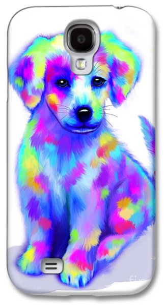 Puppy Digital Art Galaxy S4 Cases - Painted Pup Galaxy S4 Case by Nick Gustafson