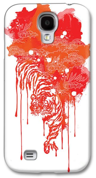 Tiger Galaxy S4 Cases - Painted tiger Galaxy S4 Case by Budi Satria Kwan