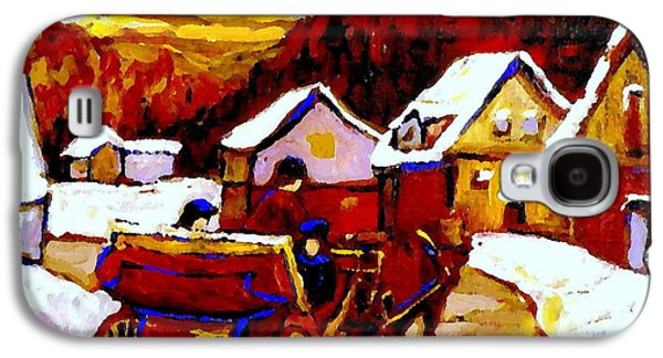 Horse And Buggy Paintings Galaxy S4 Cases - Painting Canadian Landscapes Red Sled Riders Home Before Sunset Quebec Landscape Paintings  Galaxy S4 Case by Carole Spandau