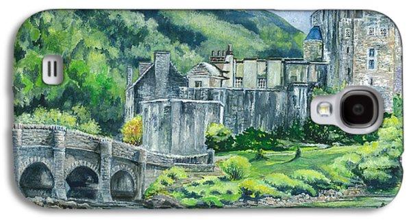Landscape Acrylic Prints Drawings Galaxy S4 Cases - Painting Eilean Donan Medieval Castle Scotland Galaxy S4 Case by Carol Wisniewski