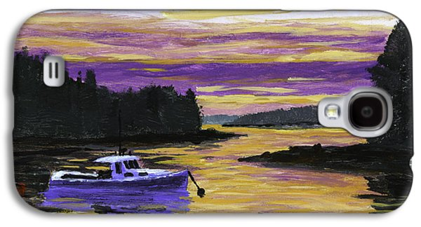 Maine Landscapes Paintings Galaxy S4 Cases - Lobster Boat In Port Clyde Maine at Sunset Galaxy S4 Case by Keith Webber Jr