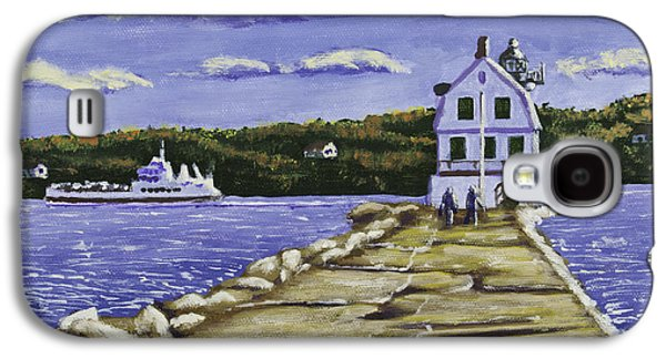 Maine Landscapes Paintings Galaxy S4 Cases - Rockland Breakwater Lighthouse in Maine Galaxy S4 Case by Keith Webber Jr
