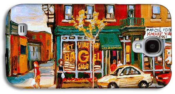 Montreal Storefronts Paintings Galaxy S4 Cases - Paintings Of  Famous Montreal Places St. Viateur Bagel City Scene Galaxy S4 Case by Carole Spandau