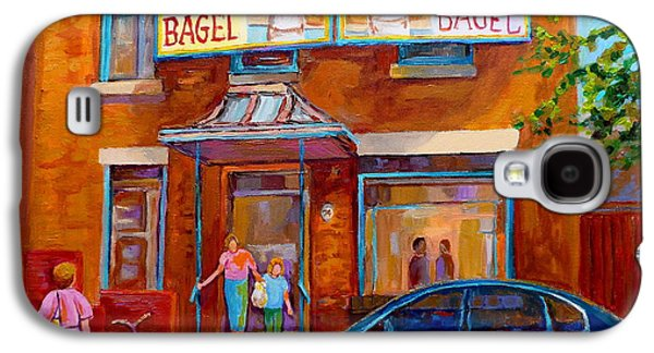Montreal Storefronts Paintings Galaxy S4 Cases - Paintings Of Montreal Fairmount Bagel Shop Galaxy S4 Case by Carole Spandau