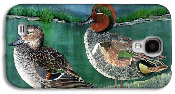 Etc. Paintings Galaxy S4 Cases - Pair of Green-winged teals Galaxy S4 Case by Marsha Friedman