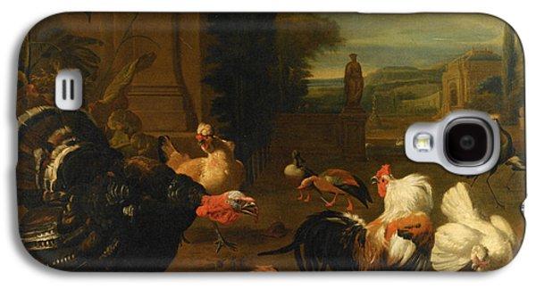 Garden Scene Galaxy S4 Cases - Palace Garden Exotic Birds and Farmyard Fowl Galaxy S4 Case by Melchior de Hondecoeter