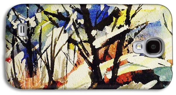 Splashy Art Galaxy S4 Cases - Palenville Winter Abstract - Catskills Galaxy S4 Case by Ellen Levinson