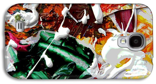 Abstractions Paintings Galaxy S4 Cases - Palette Abstraction #9 Galaxy S4 Case by John Lautermilch