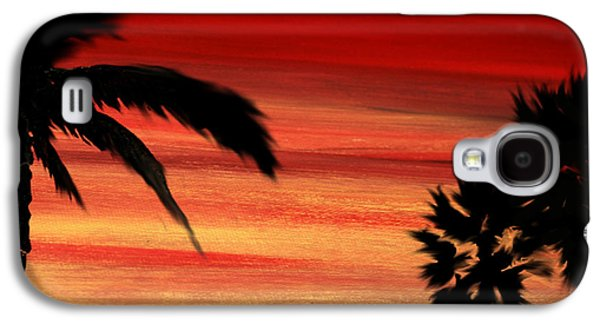 Sunset Abstract Mixed Media Galaxy S4 Cases - Palm Set Galaxy S4 Case by Ryan Burton