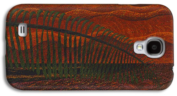 Abstract Landscape Galaxy S4 Cases - Palm Leaves Sunset Galaxy S4 Case by Sean Corcoran