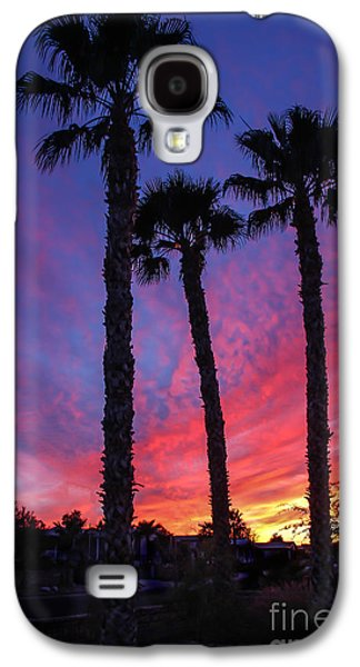 Haybale Galaxy S4 Cases - Palm Trees Sunset Galaxy S4 Case by Robert Bales