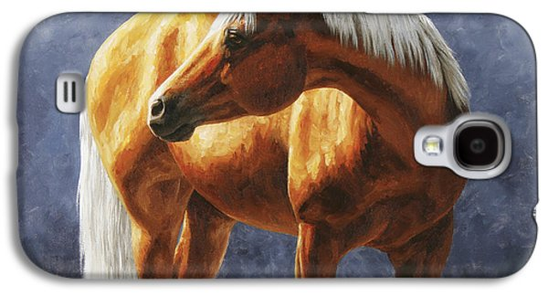 Quarter Horses Galaxy S4 Cases - Palomino Horse - Gold Horse Meadow Galaxy S4 Case by Crista Forest