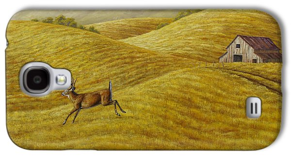 Old Barns Paintings Galaxy S4 Cases - Palouse Farm Whitetail Deer Galaxy S4 Case by Crista Forest