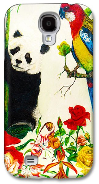 Abstract Collage Drawings Galaxy S4 Cases - Panda and Parrot Galaxy S4 Case by Jott Harris