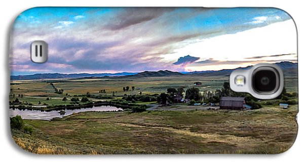 Haybale Galaxy S4 Cases - Panoramic of Solider Ranch Galaxy S4 Case by Robert Bales