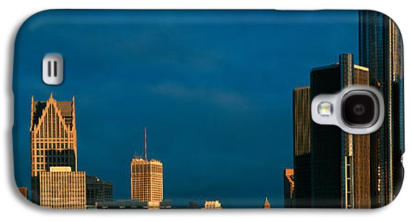 Renaissance Center Galaxy S4 Cases - Panoramic Sunrise View Of Renaissance Galaxy S4 Case by Panoramic Images