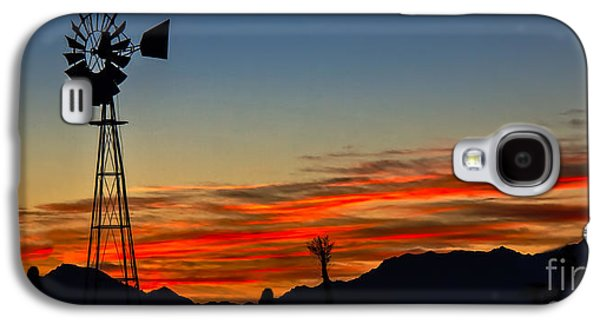Haybale Galaxy S4 Cases - Panoramic Windmill Silhouette Galaxy S4 Case by Robert Bales