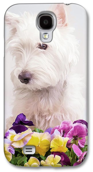 Puppy Digital Art Galaxy S4 Cases - Pansies Galaxy S4 Case by Edward Fielding