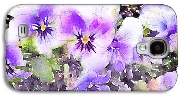 Close Focus Floral Galaxy S4 Cases - Pansies Watercolor Galaxy S4 Case by John Edwards