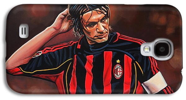 Stripes Paintings Galaxy S4 Cases - Paolo Maldini Galaxy S4 Case by Paul  Meijering