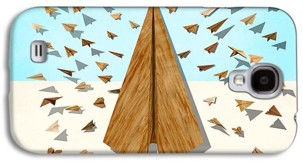 Glides Galaxy S4 Cases - Paper Airplanes of Wood 10 Galaxy S4 Case by YoPedro