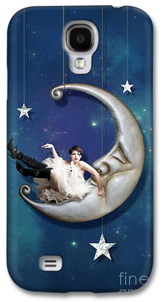 Man In The Moon Galaxy S4 Cases - Paper Moon for Phone Galaxy S4 Case by Linda Lees