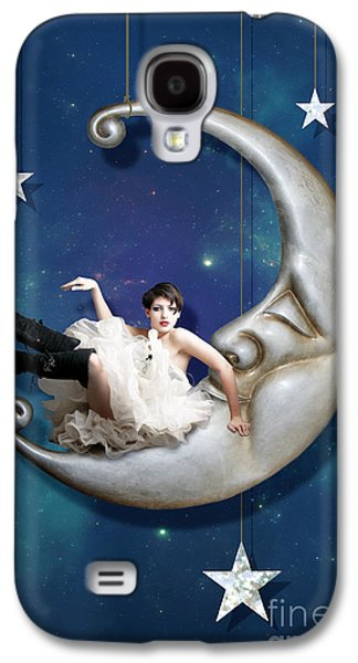 Man In The Moon Galaxy S4 Cases - Paper Moon Galaxy S4 Case by Linda Lees