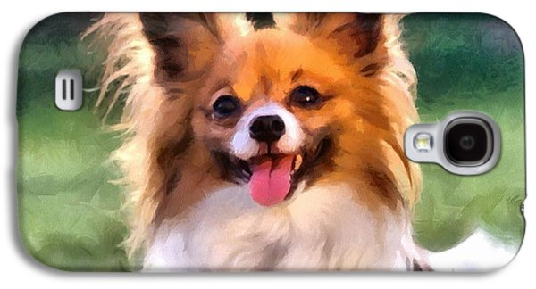 Puppies Digital Art Galaxy S4 Cases - Papillon Galaxy S4 Case by Gun Legler