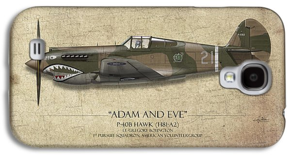 P-40 Galaxy S4 Cases - Pappy Boyington P-40 Warhawk - Map Background Galaxy S4 Case by Craig Tinder