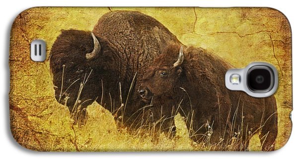 Bison Digital Art Galaxy S4 Cases - Parent and Child - American Bison Galaxy S4 Case by Lianne Schneider