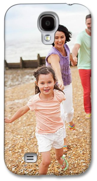 Parents Running On Beach With Daughter Galaxy S4 Case by Ian Hooton